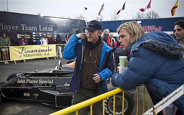 Chris Hemsworth as James Hunt and director Ron Howard on set, 2013. Courtesy Studio Canal
