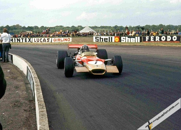 Graham Hill in the Lotus 49B at the 1969 British Grand Prix. Photo: LAT Photographic